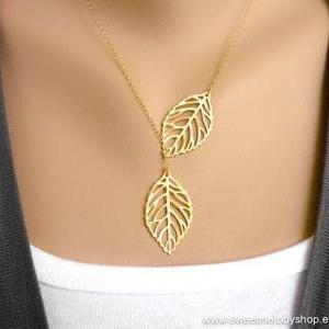 LEAF LARIAT NECKLACE, LEAF PENDANT ..