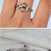 Cute Silver Anchor Ring Friendship Share with Girls Friends, Size7
