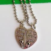 Don't forget me and I want you Love Heart Pendant Necklace