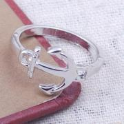 Simple Charm Silver Metal Nautical Anchor Ring
