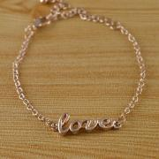 Fashion Simple Style Charm Gold Plated LOVE Bracelet / Anklet