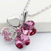18K GP SWAROVSKI CRYSTAL PEACH HEART FOUR LEAF CLOVER PENDANT NECKLACE