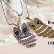 New Silver Big Owl Pendant Necklace