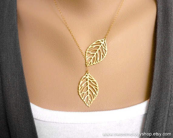 LEAF LARIAT NECKLACE, LEAF PENDANT CHARM NECKLACE, GOLD FILLED CHAIN, MOM GIFT, BESTFRIEND GIFT, BRIDAL JEWELRY