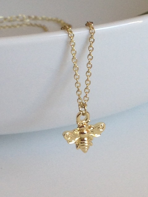Bumblebee necklace 24k gold dipped honey bee pendant gift ideas bumblebee necklace 24k gold dipped honey bee pendant gift ideas for her friend teen bridesmaids necklaces aloadofball Images