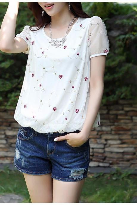 New Chiffon Flower Embroidery Floral Mesh Blouse
