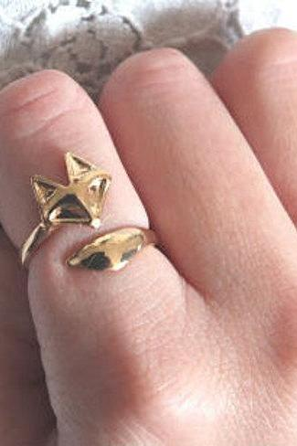 New Fox Ring in Gold, Size adjustable