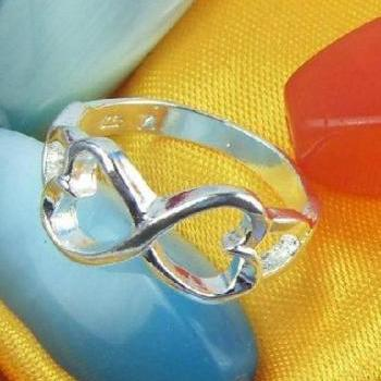 Sterling Silver 2 Heart Ring, Size 9